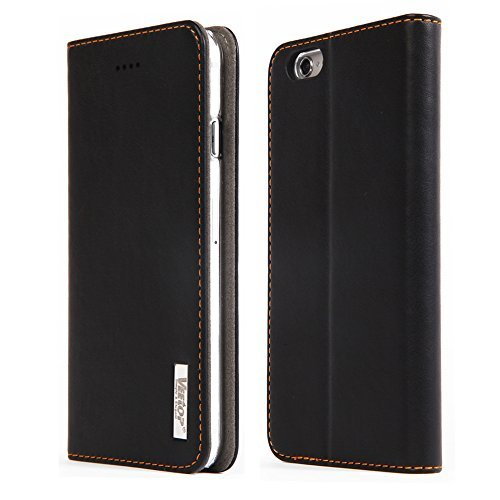 "Cover iphone 6,Veetop® custodia iphone 6/iphone 6s,custodia portafoglio iphone 6/iphone 6s (4.7"") con chiusura magnetica,realizzata in pelle d'alta qualità,Design Elegante (Nero),24 mesi di Garanzia!"