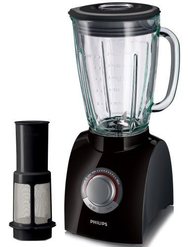 Philips HR2084/90 Black Blender with Fruit Filter and 2 Litre Jug, 650 Watt