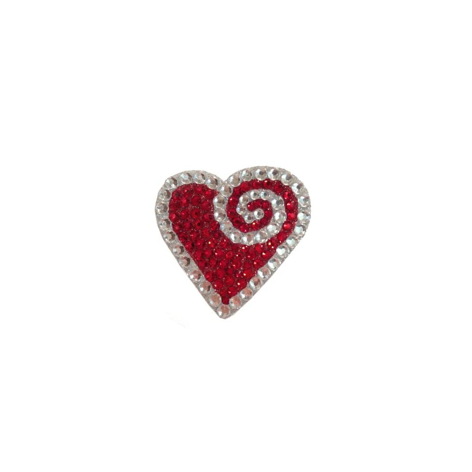 Crystal Heiress Crystal Sticker, Heart, 2.5 by 2.875 Inch, Red/Silver