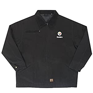 NFL Pittsburgh Steelers Tradesman Canvas Quilt Lined Jacket, Black, Large from Dunbrooke Apparel