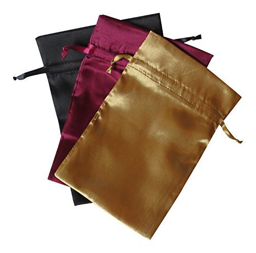 "Tarot Bags Fall Colors Satin Bundle of 3: Wine Black and Gold (6"" X 9"" Each)"