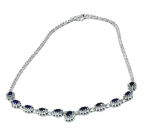 17.45 Oval Sapphire & Round Diamond Fashion Necklace