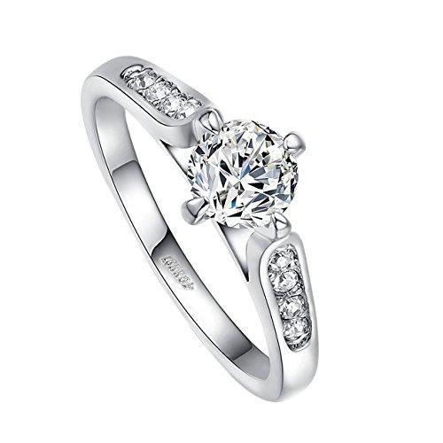 Yoursfs Solitaire Anello classico 18K oro bianco placcato Diamante simulato a Paw Impostazione Centro di fidanzamento Fedi