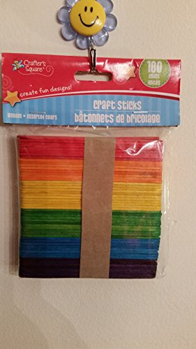 Assorted Color Wooden Craft Sticks 100 Count - 1