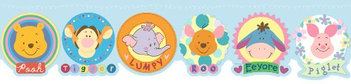 Blue Mountain Wallcoverings DF059171DFP Pooh Heffalump Die Cut Prepasted Wall Border - 1