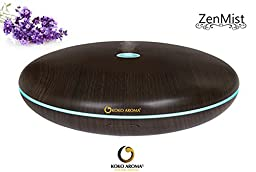 KOKO AROMA Wood Grain Aromatherapy Essential Oil Diffuser/Humidifier - Zen Mist 400ml 12 Hour Run Time - Spa Vapor with Controllable Lighting - eBook included (Dark Wood)