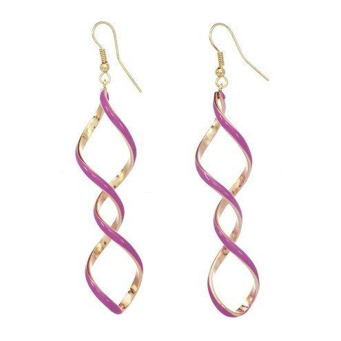 alexa-starr-6089-ep-pnk-silvertone-or-goldtone-enamel-linear-twisted-earrings-pink