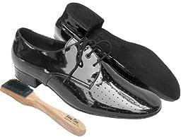 Very Fine Men\'s Salsa Ballroom Tango Latin Dance Shoes Style SPT6 Bundle with Dance Shoe Wire Brush, Black Leather 12 M US Heel 1 Inch