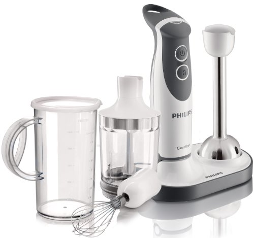 Philips HR1369 00 Cordless Hand Blender with Chopper  Whisk and Beaker