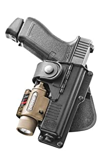 Fobus Tactical RBT17 RT Standard Right Hand Conceal Carry Polymer Roto Paddle Light Laser Holster For Glock 17/22/31, S&W M&P 9mm, Walther P99Q - Black