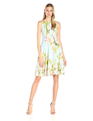 Maggy London Women's Water Wash Garden Printed Scuba Fit and Flare, Mint/Pink, 10