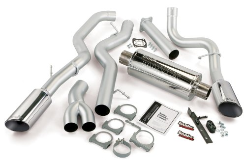 Banks Power 48672 Monster Diesel Duals Exhaust System; 4 in. In/Out; Incl. Head-Pipe Assembly/Intermediate Pipe/Tailpipes/Muffler/6x5 in. Obround Polished Tips; Stainless Steel;