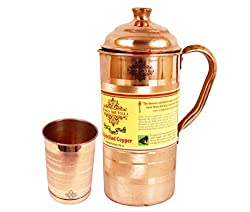 Indian Art Villa Handmade High Quality Pure Solid Copper Luxury Jug Pitcher Volume 1 Liter with 1 Copper Glass Tumbler Cup Volume 300 ML for use Storage Drinking water Home Decore Gift item for Good Health Benefits Indian Yoga Ayurveda
