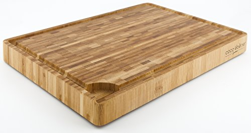Large End Grain Cutting Board - Professional Butcher Block with Juice Groove and Tank - Kitchen Prep Station with Non-slip rubber feet - Made of Durable Antibacterial Moso Bamboo (Wooden Meat Cutting Board compare prices)
