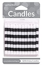 Creative Converting 12 Count Striped Birthday Cake Candles, Black/White