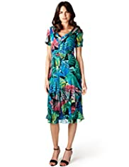 Per Una Abstract Print Crinkle Midi Dress