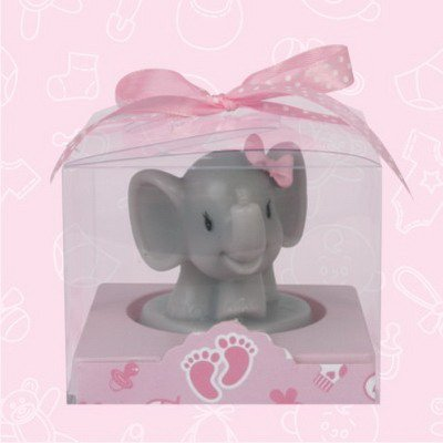 48 Baby Shower Safari Elephant Pink Girl Candle Favor In Box Favors Gift Keepsake Favor front-1071568