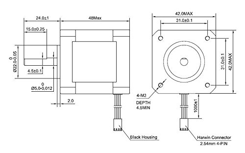 nema 17 stepper motor bipolar 2a 59ncm 84oz in  48mm body