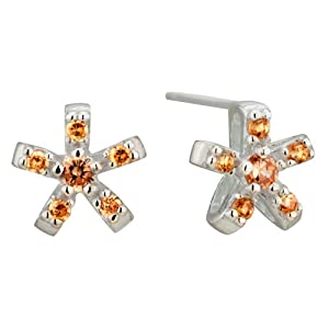 Pugster November Yellow Flower Crystal Sterling Silver Earring Stud
