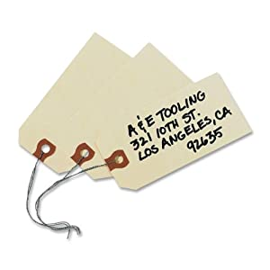 Avery Shipping Tags, Paper/Double Wire, 4.25 x 2.125 Inches, Manila, Pack of 1000 (12604)