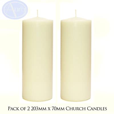 PACK of 2 - Ivory Church Candles (70mm x 203mm) from Aura Essential Oils