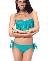 DJT Bikini à Frange/Trikini Push Up- Eté-Femme - Maillots de Bain 2 pièces à la mode Pour Femme Elégante été Plage Natation