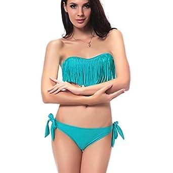 DJT Bikini à Frange/Trikini Push Up- Eté -Femme - Maillots de Bain 2 pièces à la mode Pour Femme Elégante été Plage Natation Bleu L