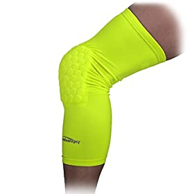 COOLOMG 1PCS Kids Adult Pad Crashproof Basketball Leg Knee Long Sleeve Protector Gear Fluorescent Green S