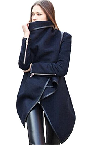 Babyonline Long sleeve women lapel Jacket Solid Wool Blends Long Trench Coats,Navy Blue,Large