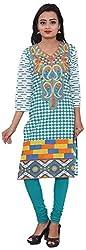 KIMYRAA Women's Cotton Kurta (KLK-1003-TURQUOISE-XXL)