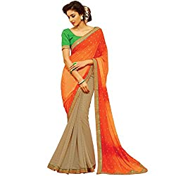 Vasu Saree for women Orange Colour Patch/Embroidered Border Work Georgette Latest Designer Saree for Party Occation With Fancy Blouse