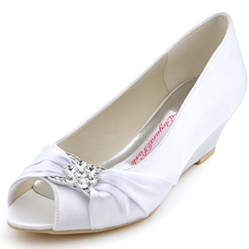ElegantPark WP1403 Peep Toe Women's Pumps Rhinestones Mid Heel Wedges Knot Satin Wedding Bridal Shoes White US 6