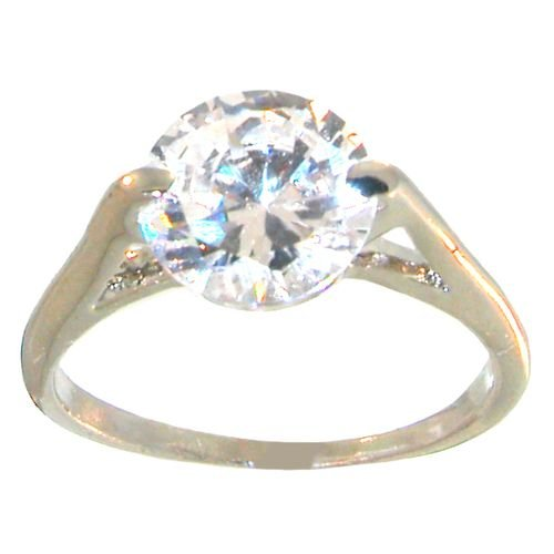Cubic Zirconia Faux Engagement Ring, 7 In Crystal with Silver Finish