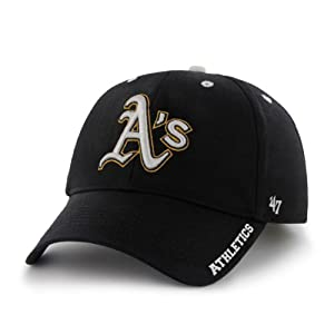 MLB Oakland Athletics 47 Brand Adjustable Frost MVP Hat, Black, One Size by