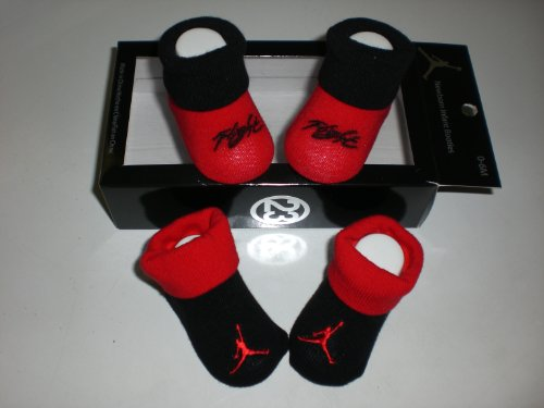 Nike Air Jordan Newborn Infant Baby Booties Black and Red W/classic Jordan Air Jumpman and Flight Logo Size 0-6 Months