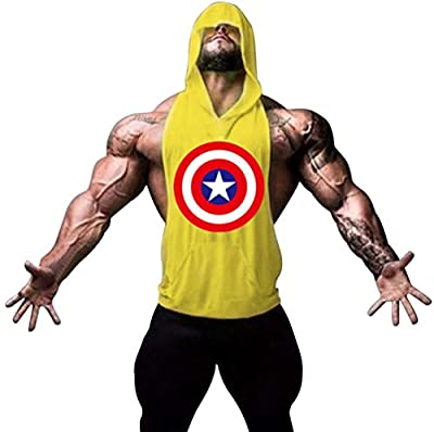 Gillbro Mens Bodybuilding Stringer Hoodie Gym Tank Top Hooded Waistcoat