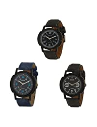 Oura Analog Round Casual Wear Watch For Men Combo Of 3pc - B019ZITHAQ