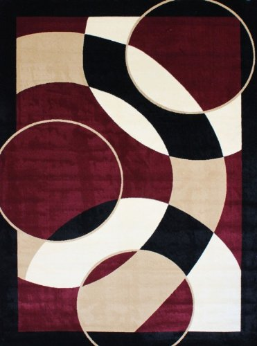 1052 Burgundy 5 2x7 2 Area Rugs Modern Contemporary Abstract Black Ivory Beige Carpet Shop In Usa Hoangduong14512