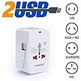 MAXAH® Adaptateur universel de voyage + 2 ports USB/Tout-en-un adaptateur/adaptateur international/All-in-One Universal World Wide/Travel Adapter pour Union Européenne/UK/Australie/Etats-unis/Japon ---1 A (BLANC)