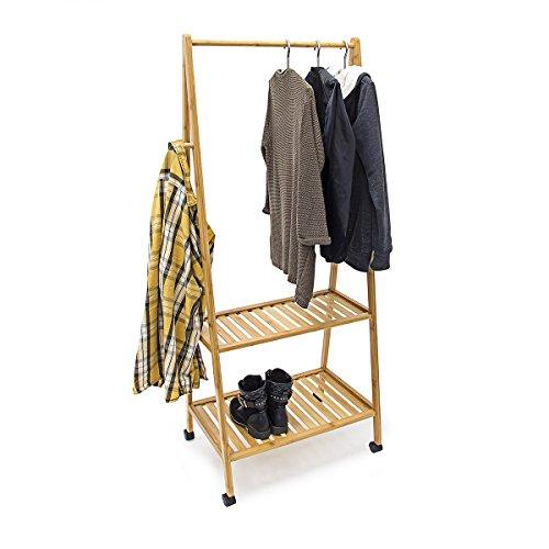 Relaxdays-Kleiderstnder-Bambus-HBT-150x108x50-cm-rollbarer-Garderobenstnder-aus-Bambus-mit-2-Ablageflchen-und-4-anstellbaren-Rollen-2-Kleiderhaken-und-Schuhablage-fr-Flur-und-Diele-natur
