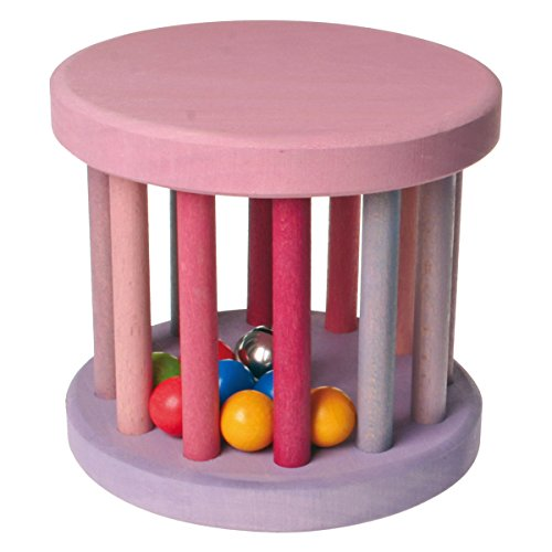 Grimm's Large Wooden Rolling Wheel Baby Toy with Rattling Balls & Bell, Pink & Purple