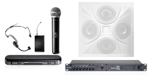 Wireless Conference Room Sound System 1 Ceiling Speaker, Mixer Amplifier, Dual Mic Wireless System