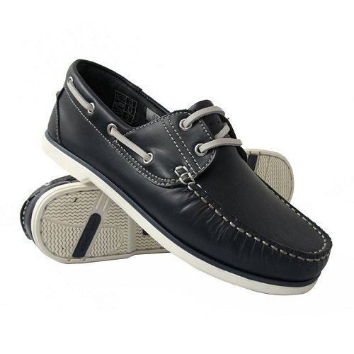 Mens Navy Leather Deck/DEK Boat Lace Up Shoes 9