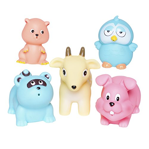 Elegant Baby Bath Time Fun Rubber Water Squirtie Toys In Vinyl Giftable Bag, Forest Animal Party (Discontinued by Manufacturer)