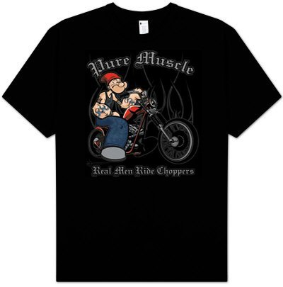 Popeye PURE MUSCLE Biker Adult Black T-shirt Tee Shirt, XL