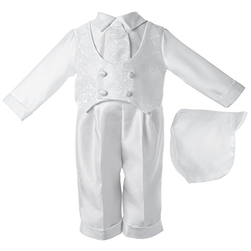 Lauren Madison baby boy Christening Baptism Infant Shantung Pant With Vest, White, 9-12 Months