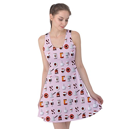 PattyPattern Womens Coffee Mini Icon Elements Pattern Reversible Sleeveless Dress (3XL, Light Pink) (Mr Coffee Airpot compare prices)