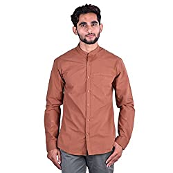 CORTOS Brown 100% Cotton Plain Regular fit casual Solid Shirt (Size: X-Large)