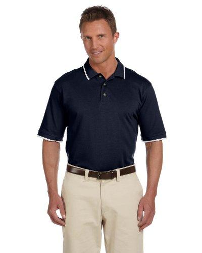 Harriton Men'S 6 Oz. Short Sleeve Pique Polo Shirt With Tipping, Large, Navy/White