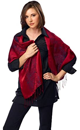 Fandori Silk Scarf with Contrasting Color-Red and black- One Size